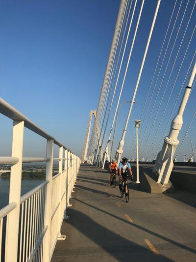 Riding across the Cooper River Bridge