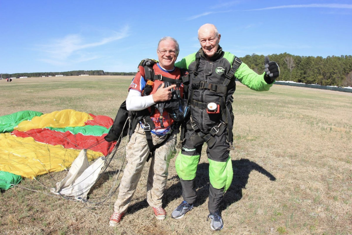 jump out of an airplane 80 year old skydiving