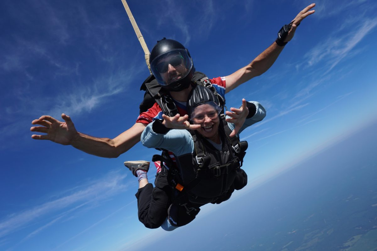 trouble breathing while skydiving
