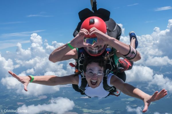 is skydiving fun tandem skydiver smiling