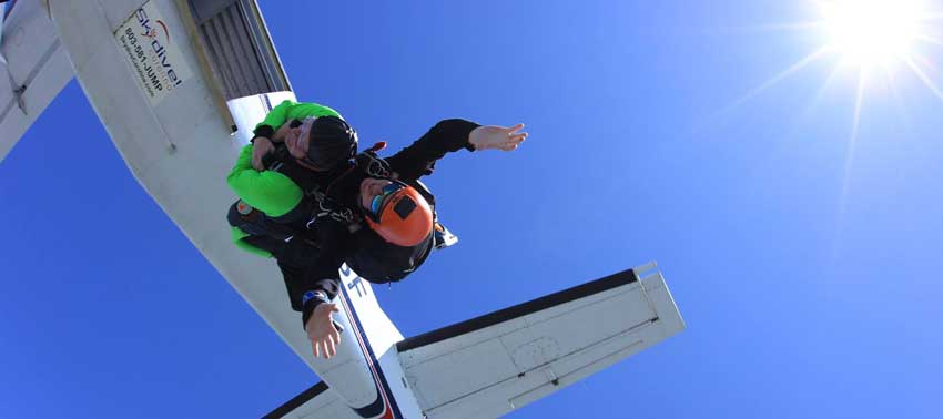David Nance of Columbia, SC makes his tandem skydive at Skydive Carolina