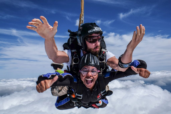 woman faces her fears and skydives at Skydive Carolina