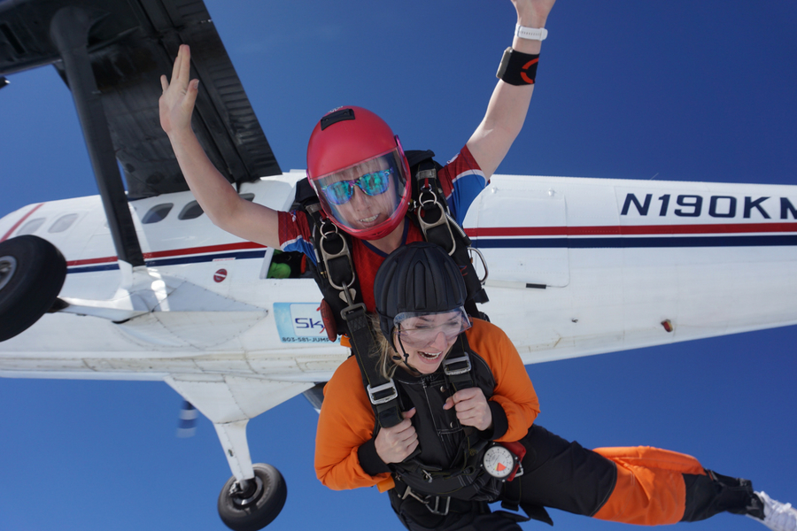 should i go skydiving quiz A tandem skydiving pair exits the Twin Otter