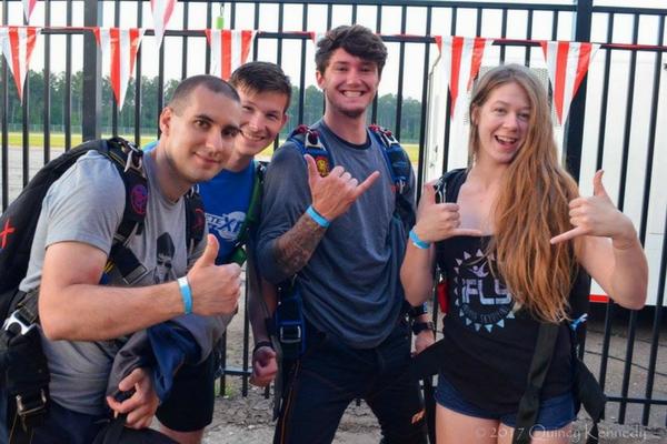 college students jumping at skydive carolina