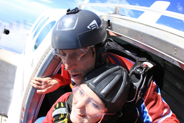 Mary Margaret Crews about to exit skydiving plane