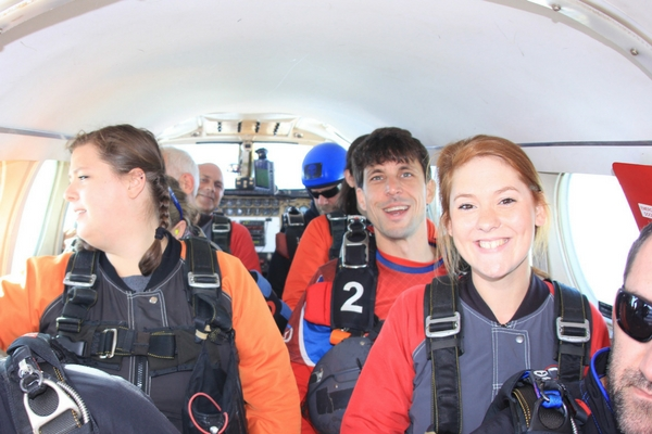 mary margaret crews in plane before jumping at Skydive Carolina