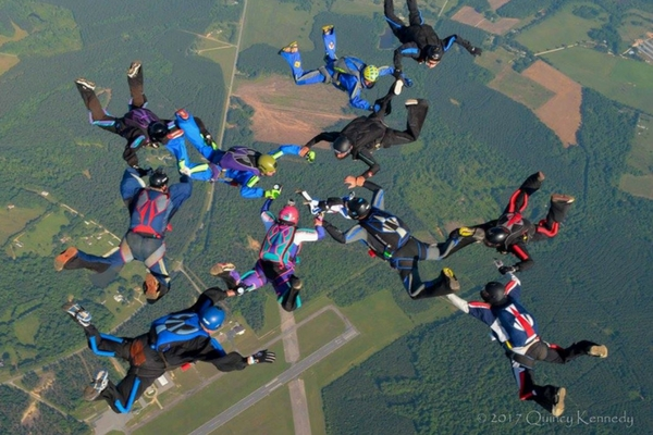 formation skydiving against carolina landscape