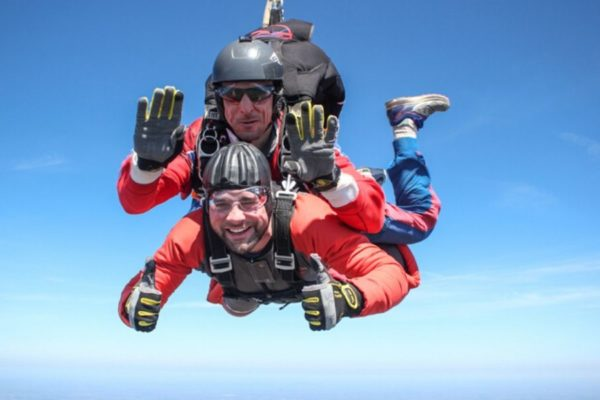 skydiving in december winter