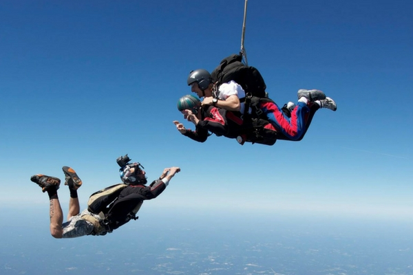 camera flyer videos tandem skydiving student in freefall