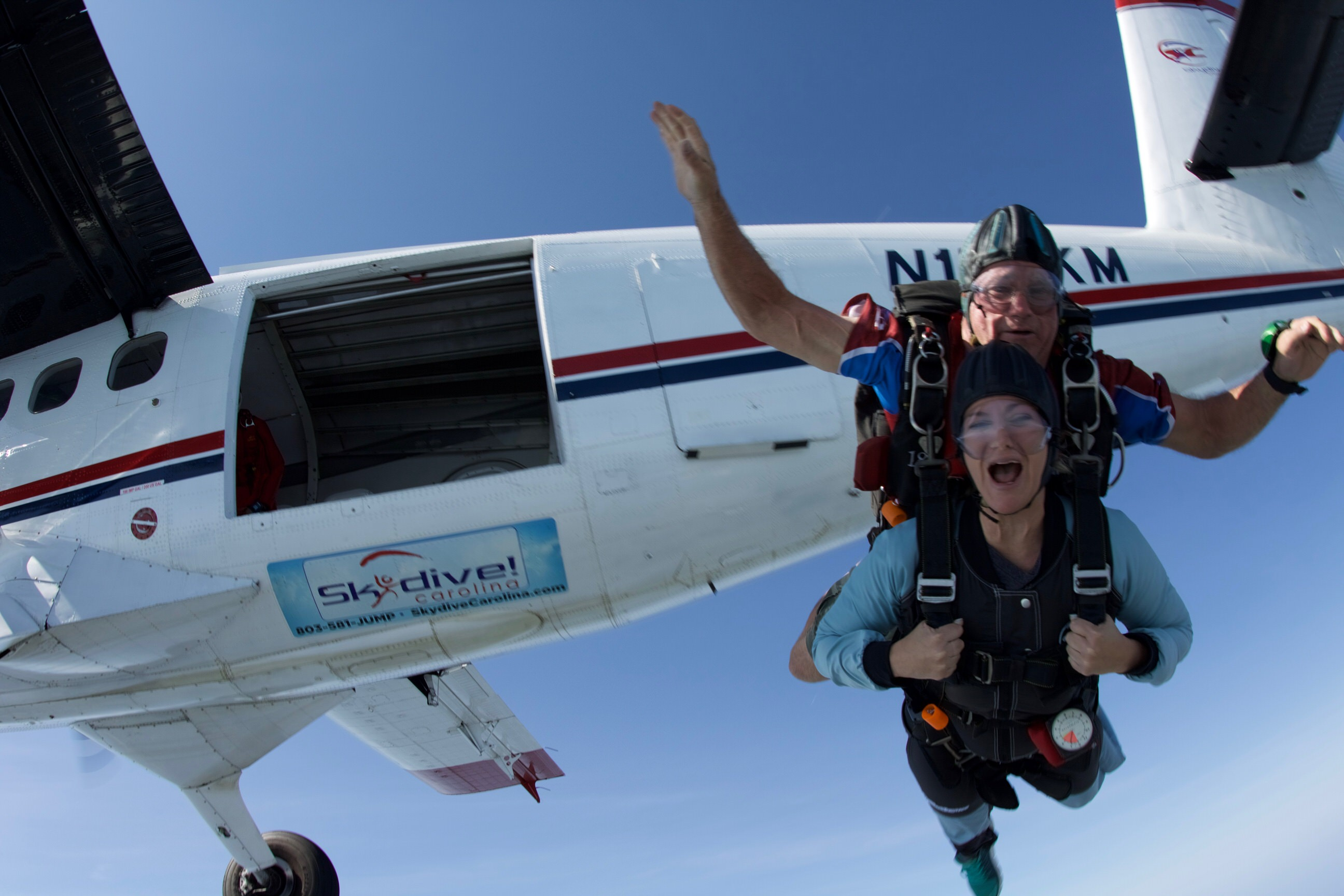 Exiting a Twin Otter aircraft