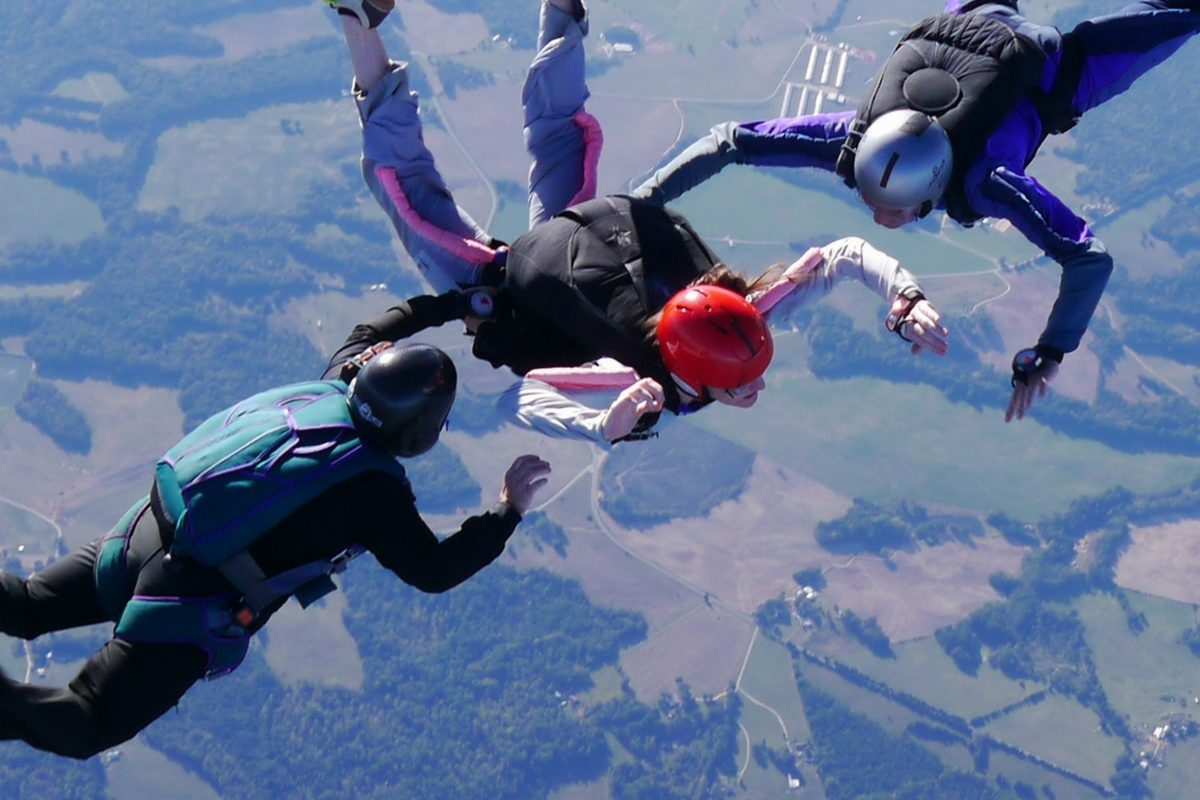 aff student learning to skydive in SC