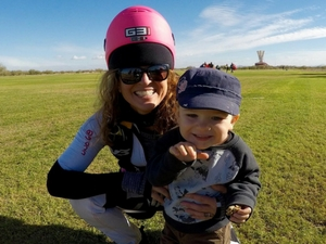 melissa nelson lowe in landing area with her son