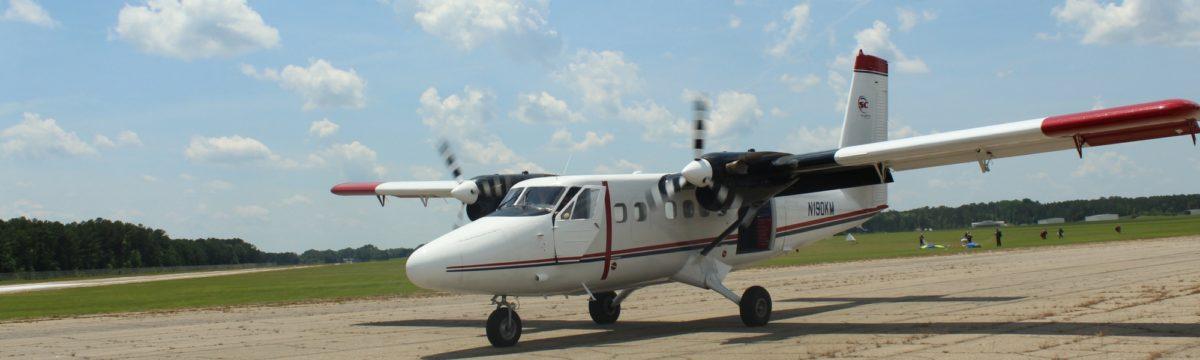 skydiving plane on runway