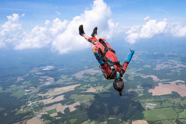 skydiving c license holder skydives with gopro