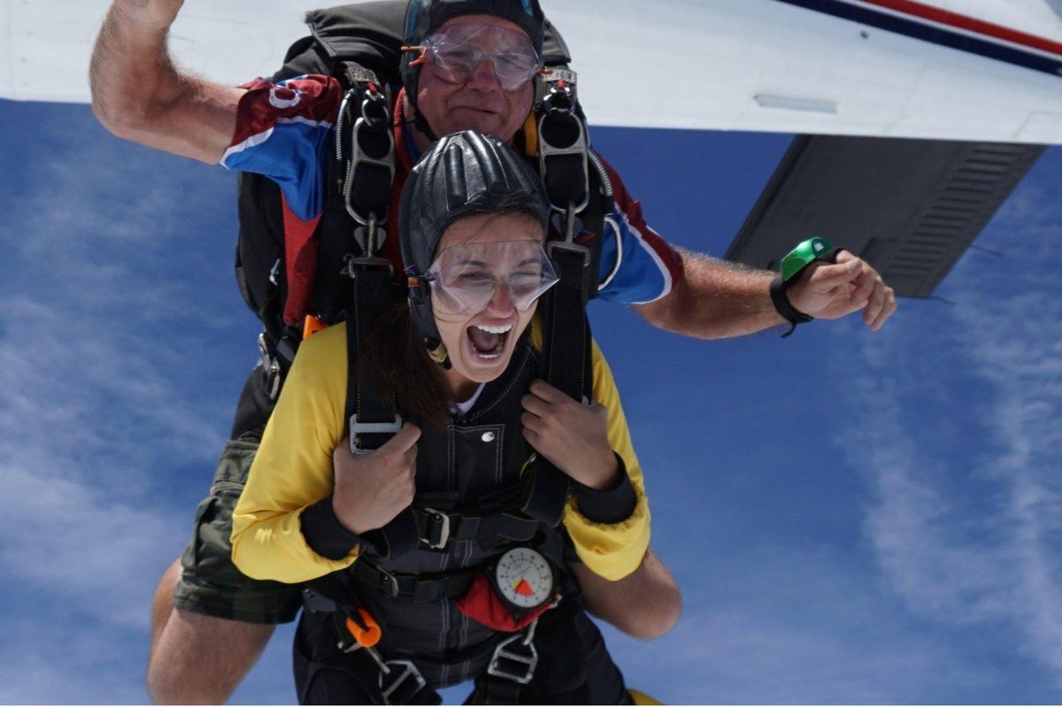 tandem skydiving exit shot