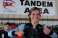 tandem student inside Skydive Carolina hangar