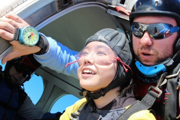 tandem student excited to make first jump