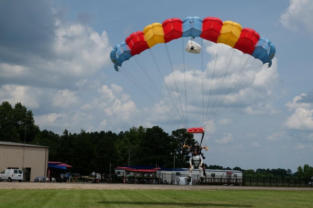 parachute landing a tandem skydive