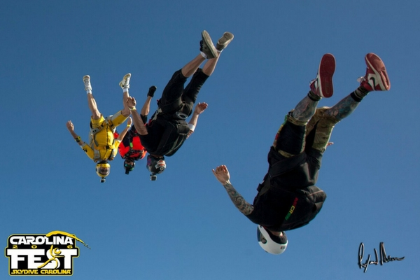 group of skydivers angle flying