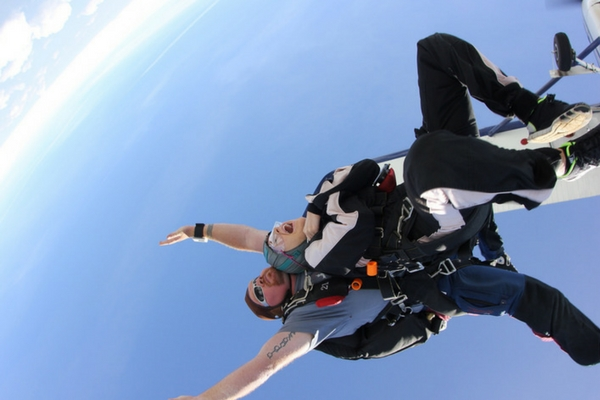 woman experiences utter freedom tandem skydiving